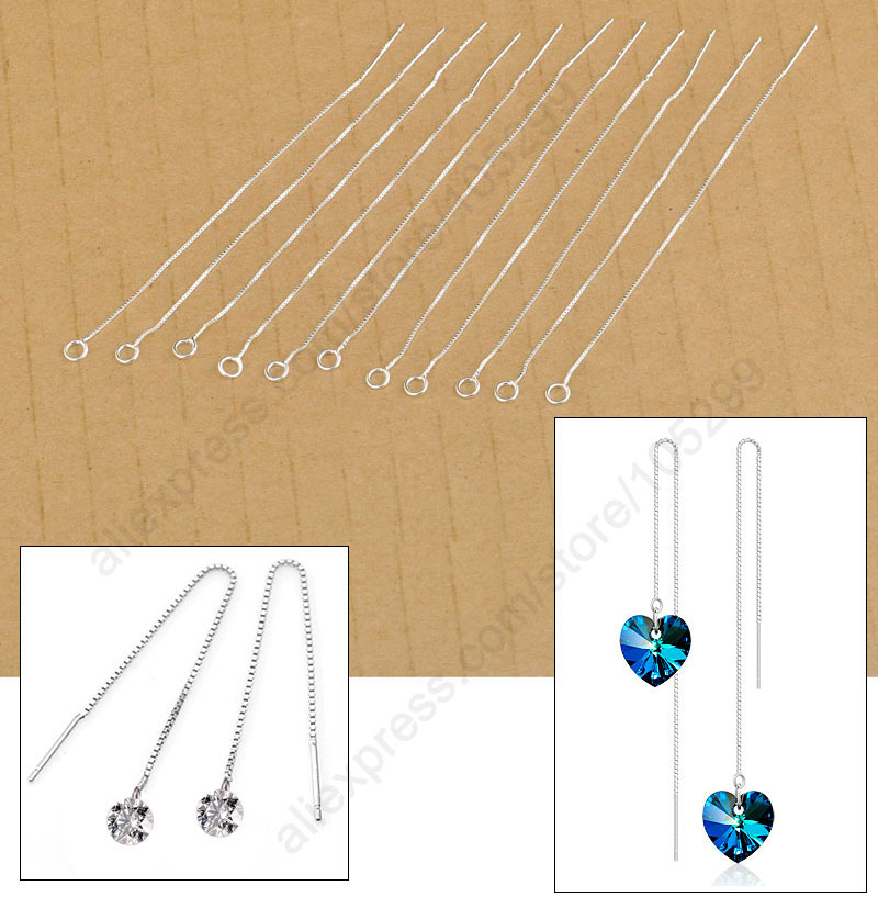 20Pcs Findings 925 Sterling Silver Jewelry Box Line Chain Earring Ear Thread Handmade Jewelry Accessories