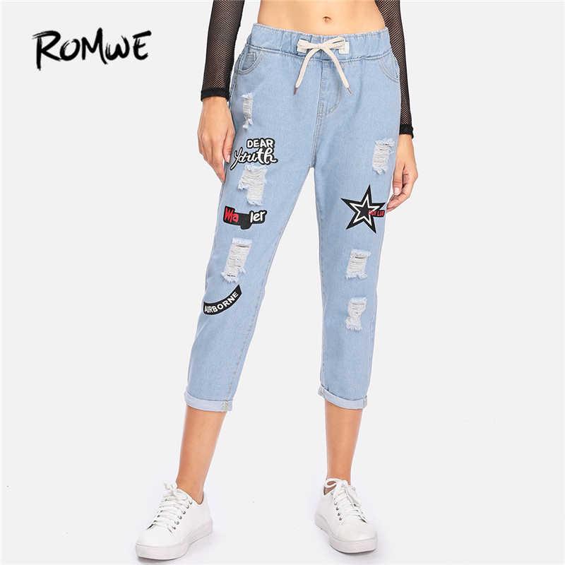 b70c9b35ee7e ... ROMWE Ripped Cuffed Jeans Women Blue Offset Printing Drawstring Mid Waist  Denim Pants Fashion Casual Pockets ...