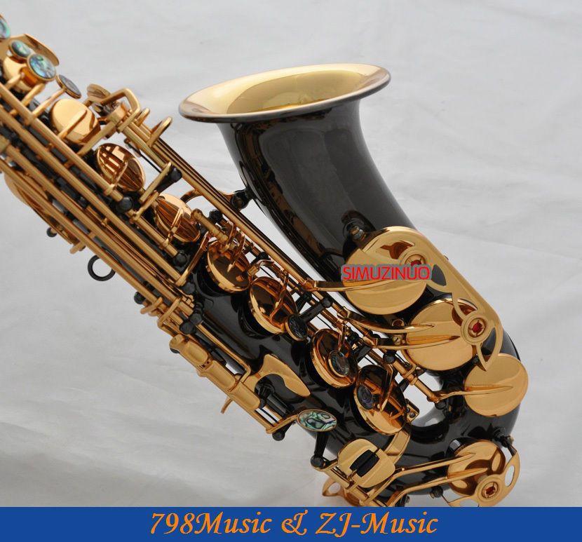 Černý lak zlatý a zlatý zvonek Eb Alto saxofon High F # Key-Abalone Bottons