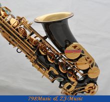 Black Lacquer Gold  and Gold Bell Eb Alto Saxophone High F# Key-Abalone Bottons