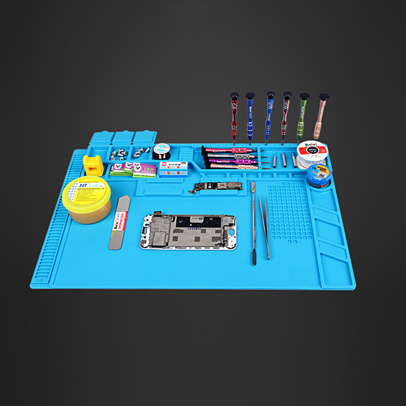 UANME 32x48cm Heat Insulation Silicone Pad Desk Mat Maintenance Platform for BGA Soldering Repair Station with Magnetic Section