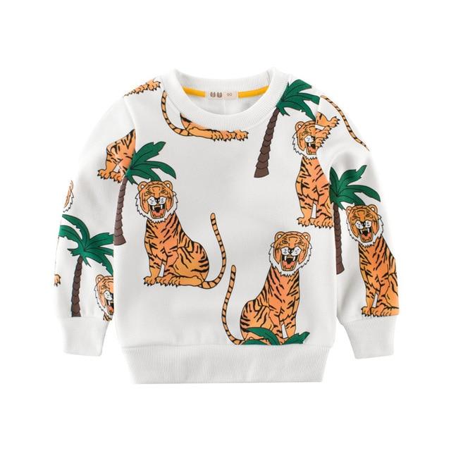 db560616 Children Winter Thick Warm Fleece T Shirt New Boys Baby Animal Tiger Trees  Printing Plus Velvet T Shirt Tops Kids Cotton Clothes