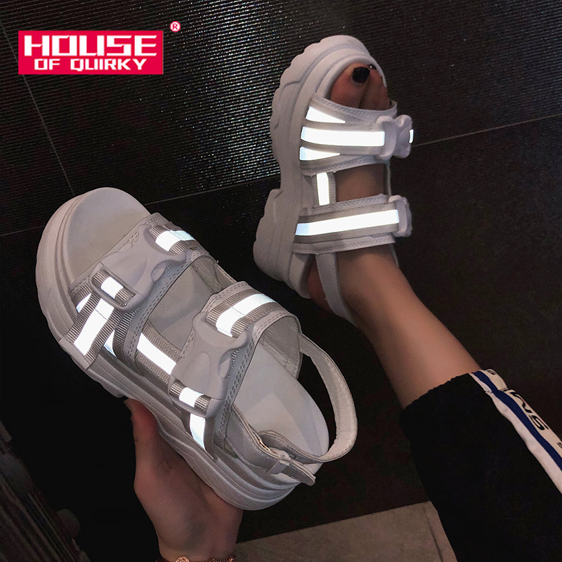 2019summer night female Reflective shoes Peep Toe Hollow out Beach shoes woman sandals outdoor wedge Roman platform Summer shoes2019summer night female Reflective shoes Peep Toe Hollow out Beach shoes woman sandals outdoor wedge Roman platform Summer shoes