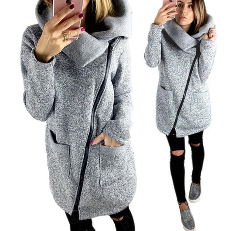 2017 autumn winter womens sweat long-sleeved jacket warm-up zipper design sweatshirt ladies large size S-3XL loose Sweatshirt