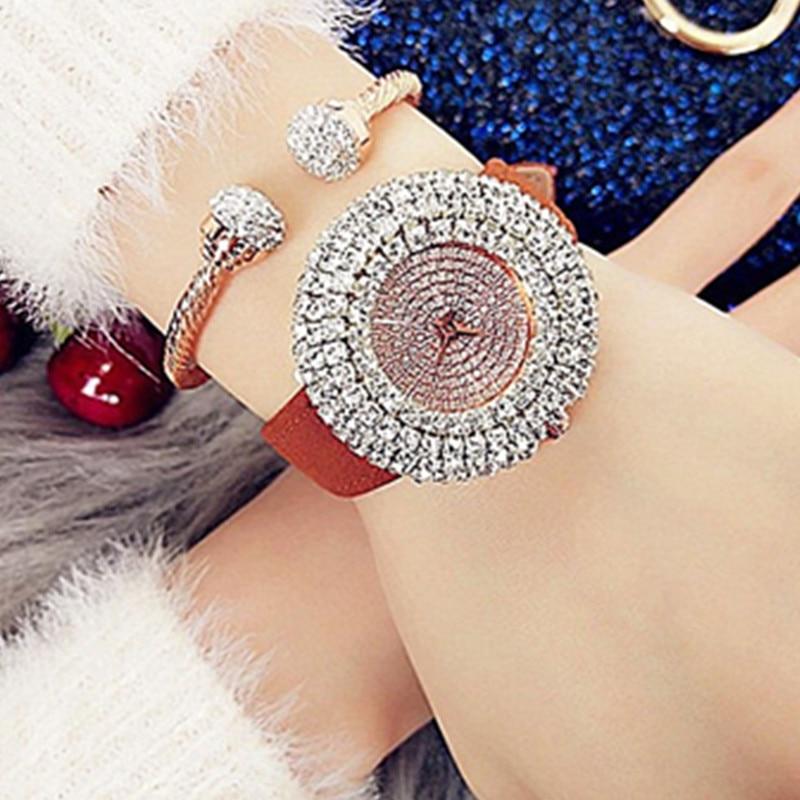 New Hot-sale Fashion Ladies Waterproof Quartz Watch Leather Strap Full Rhinestone Disc