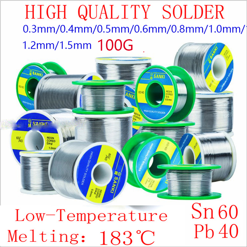 Japan SANKI 60/40 Wire Low Temperature Low Melting Point Rosin Core Solder Wire Roll 100g/0.3/0.4/0.5/0.6/0.8/1.0/1.2mm
