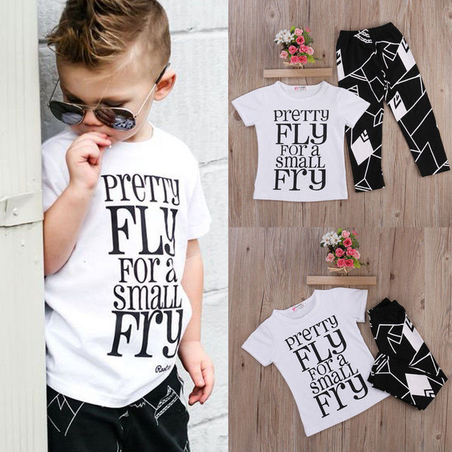 Boutique Kids Clothing 2pc Toddler Kids Baby Boy T Shirt Tops Pants