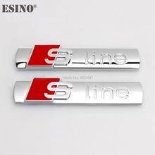 10 x Car Dody Metal Chrome Aluminium Alloy S-line 3D Emblems Badge Sticker Decal Car Accessory For Audi S-line S3 S4 S5 S6 S7 S8