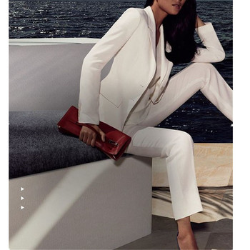 White Women Ladies Custom Made Business Office Tuxedos Work Wear Suits Bespoke Women Pant Suits Jacket+Pants