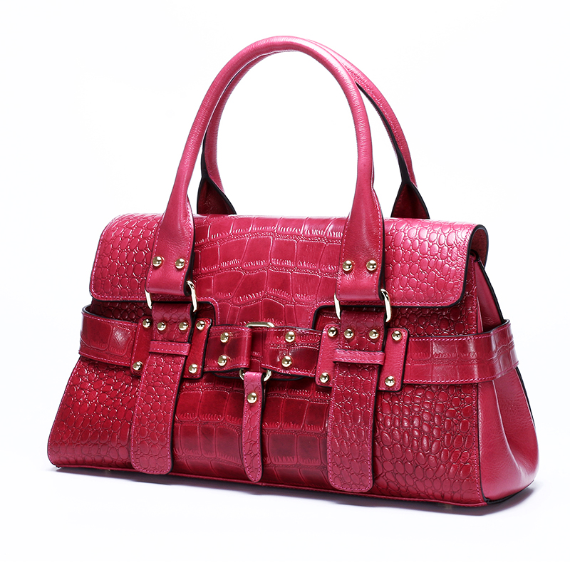 Green Sac Crocodile Cross Body Cuir blue black wine Mode D'épaule Messenger Motif À Fourre Femme Top Red Huile Main Véritable purple Peau Poignée tout Cire Femmes Vache De BqOWX