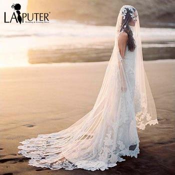 veu de noiva longo High Quality White Ivory Lace Appliques Wedding Veils Tulle Cathedral Long Bridal Veil 2017