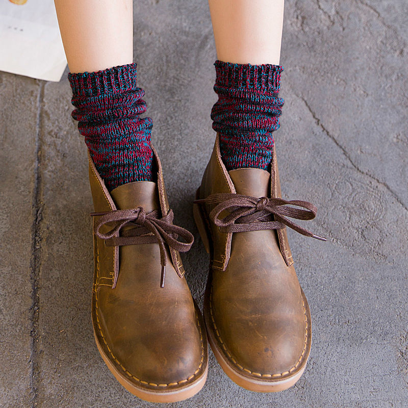 Japanese Womans Kawaii Terry Long Socks Winter Women Vintage All-match Socks National Mi ...