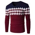 2016 New Autumn Fashion Brand Casual sweater V-neck Slim knit Men's sweater and pullover Men's Splice Diamond lattice
