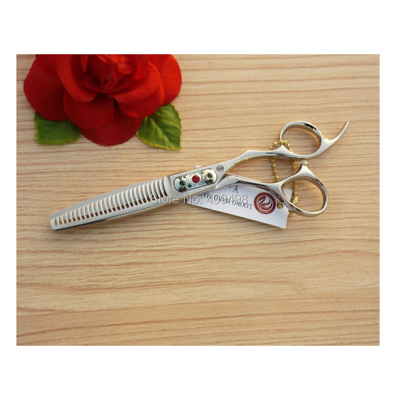 ФОТО LOONG CF3-626 6 inch hair thinning scissors hairdressing shears 440C stainless steel offset handle