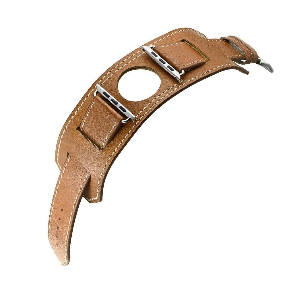 Prix pour Véritable Bande de Cuir Pour Apple Watch Band 42mm Bracelet En Cuir Bleu Bracelet Manchette Avec Adaptateur pour iWatch Bracelet 38mm brun