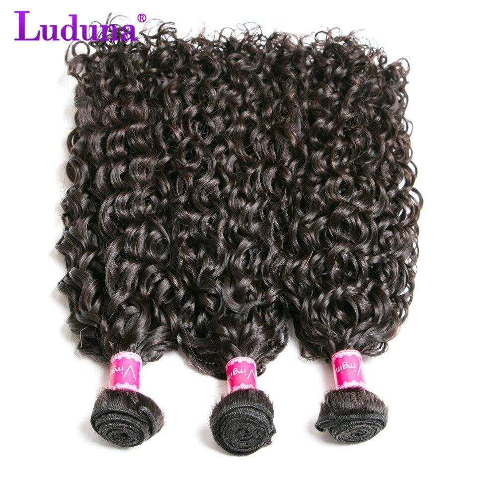 Luduna Malaysian Water Wave 3 Bundles 100% Human Hair Bundles Natural Color Remy Hair Weave Bundles Extensions Full Ends