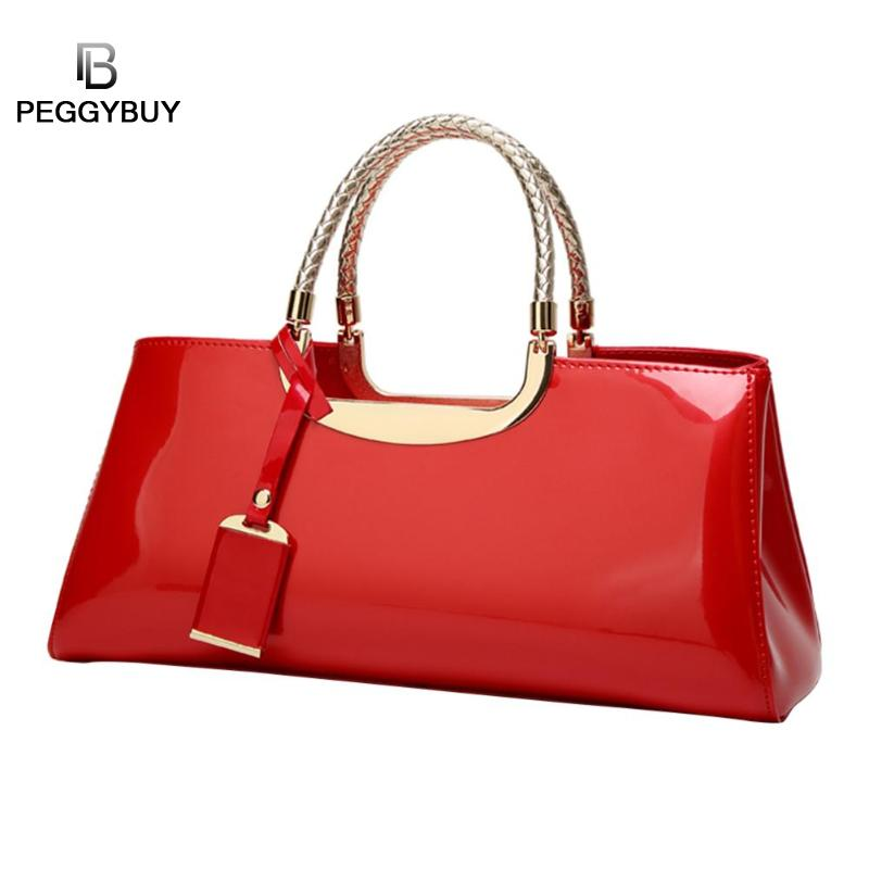 Glossy Patent Leather Women Clutch Shoulder Bags Fashion Design Banquet Evening Handbag Brand Large Female Bag Shopping TotesGlossy Patent Leather Women Clutch Shoulder Bags Fashion Design Banquet Evening Handbag Brand Large Female Bag Shopping Totes