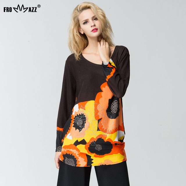 FROMMAZZ 2016 Autumn Winter New Women Cascal Knitted Sweater Loose Big Flower O Neck Pullover Tops FS16046