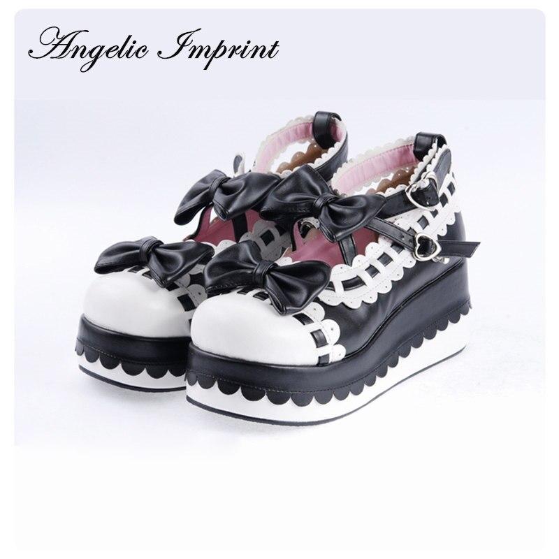 Księżniczka dziewczyny słodkie łuki buty na koturnie buty Lolita platformy zimowe buty wiele kolorów i rozmiarów dostępne w Buty damskie na słupku od Buty na  Grupa 1