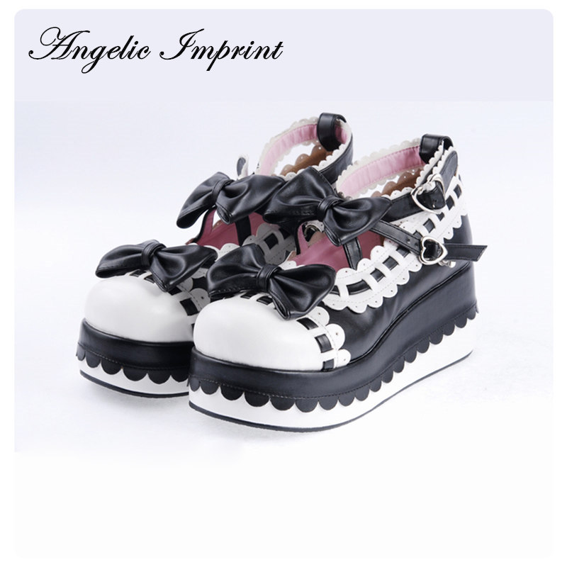 Princess Girls Sweet Bows Wedge Heels Lolita Shoes Platform Winter Shoes Many Colors and Sizes Available