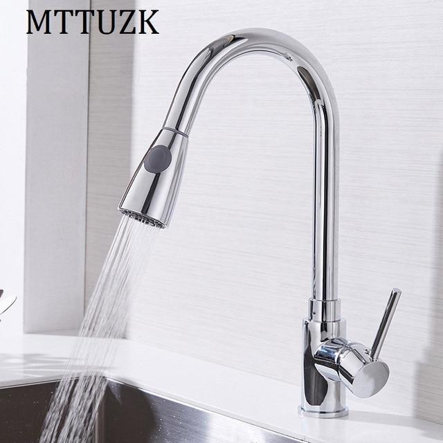 MTTUZK Nouveau design pull out robinet chrome argent pivotant