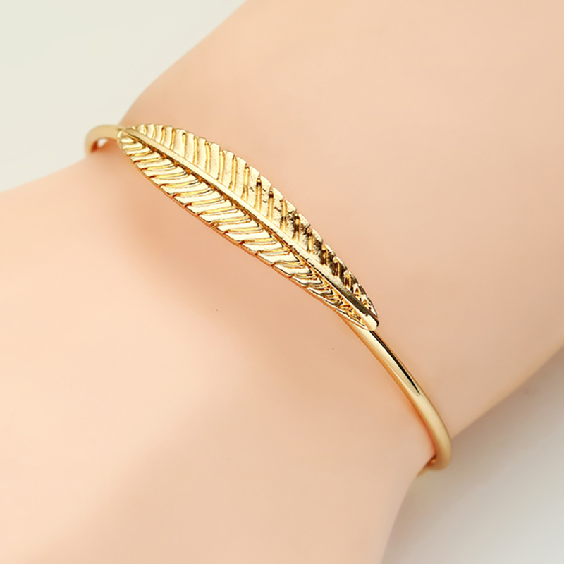 Fashion Leaf Bracelet Womens Gold Silver Metal Feather Women Open Jewelry Free Shipping