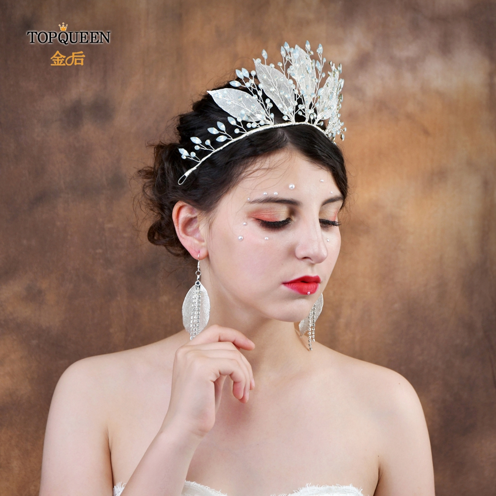 TOPQUEEN HP212-S Wedding Sliver Leaves Headband Bride Hair Tiara With  Rhinestone Elegant Wedding Tiara Bridal Headpieces 2019