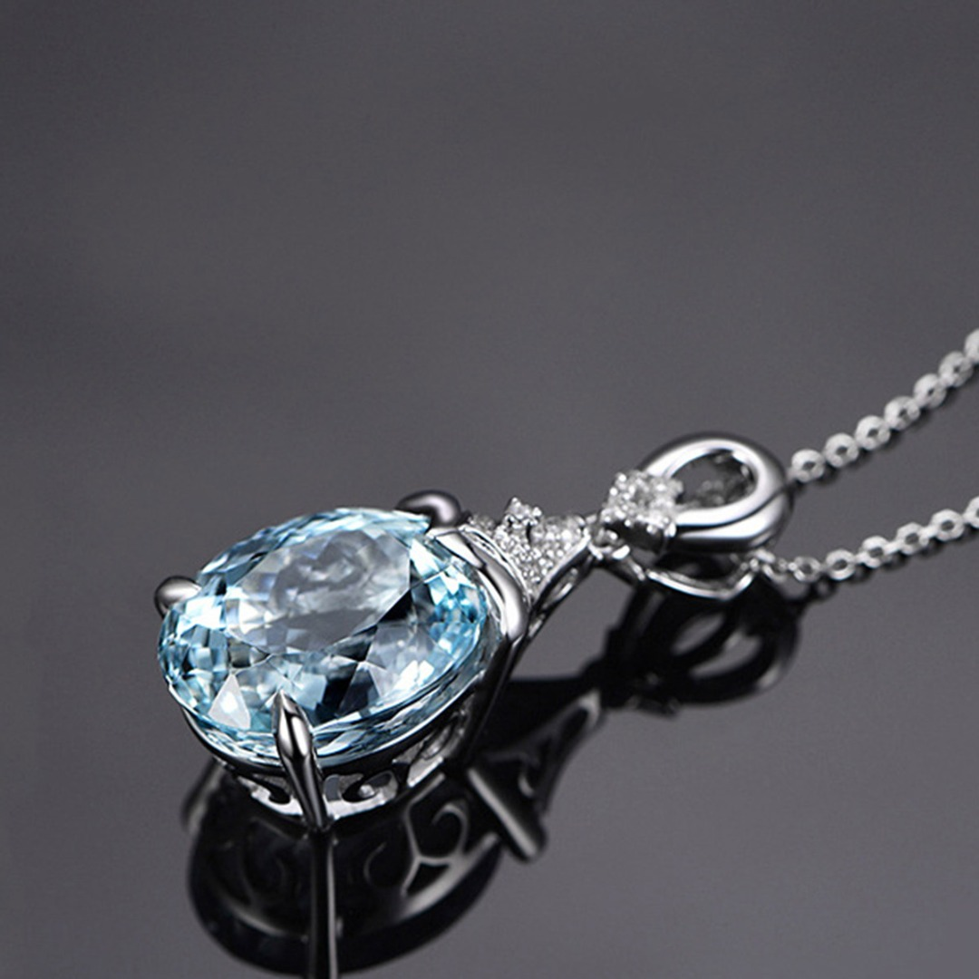 Valentine Lover Gift Classic Charming Natural Stone Blue Crystal Long Chain Necklace Women Wedding Silver Jewelry Shellhard