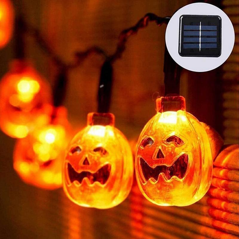 цена на 30/50LED Solar Powered LED String Pumpkin Lights Garden Halloween Party Xmas Christmas Tree Hanging Fence Outdoor Fairy Lights