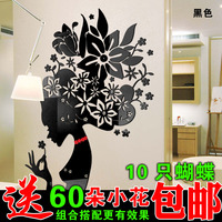 New arrival Flower Fairy 3D Acrylic Crystal Wall stickers Living room DIY art wall decor stickers Hot sale