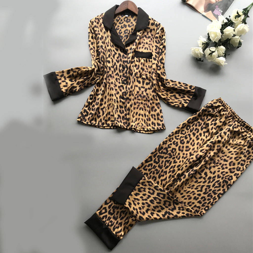 Womens Sexy Satin Leopard Pyjamas Women Long Sleeve Nightwear Homewear Set Sexy Lingerie US Stock