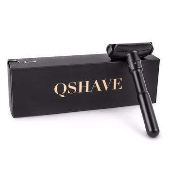 QShave Luxurious Black Adjustable Safety Razor Can Design Name on It Classic Stand Safety Razor Men Shaving 5 Gift Blades 5