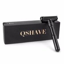 QShave לוקסוס שחור מתכוונן בטיחות תער יכול עיצוב שם על זה קלאסי Stand בטיחות Razor גברים גילוח 5 להבי מתנות