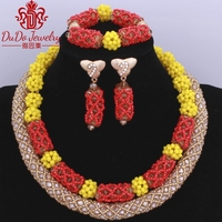 Trendy 2018 Yellow Gold Red Indian Beads African Nigerian Wedding Celebrity Necklace Jewelry Set Antique Arabic Jewellery set