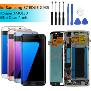 Image 1 - Amoled For SAMSUNG GALAXY S7 edge lcd display Touch Screen Digitizer assembly LCD digitizer G935 G935F with frame repair parts
