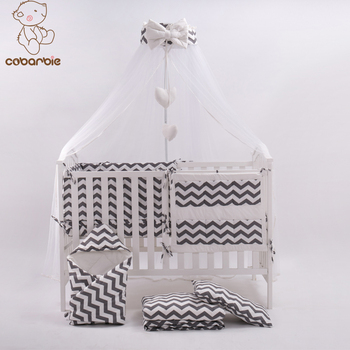 7 Pc Grey Fashion Bed Cot Bedding Set For Newborn Babies  Infant Room Kids Baby Bedroom Set Nursery Bedding