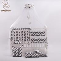 7 Pc Grey Fashion Bed Cot bedding set for newborn babies Infant Room Kids Baby Bedroom Set Nursery Bedding
