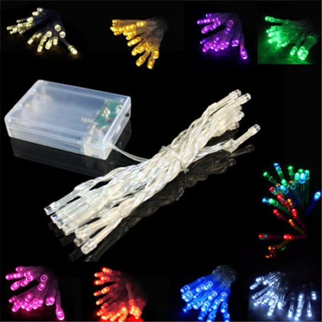 10pcs Christmas Party Wedding Lighting Battery Operated Led Fairy String Light 2m 20led Flexible Tape Outdoor Garden Show