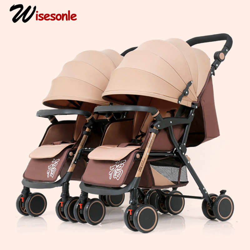 Wisesonle Twin Baby Stroller Can Be Split, Sit, Lay, Lightweight, Two-seater, Twin Size, Four-wheeled Stroller