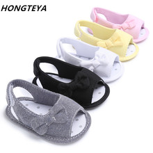 2017 hot sale bowtie style Summer canvas Baby Shoes Infant Toddler girls sandals Newborn kids baby sandals 0-18M 5 colors
