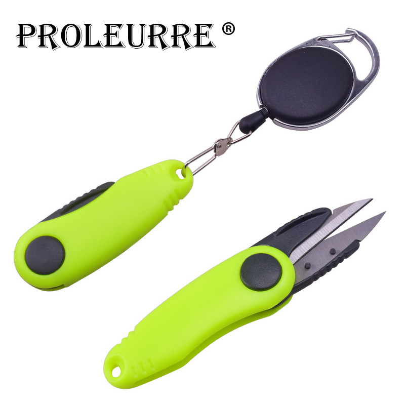 Proleurre 1pcs Shrimp-Shaped Stainless Steel Fish Use Scissors Quick Knot Tool  Accessories Set Folding Fishing Line Cut Clipper