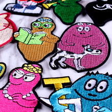 Pulaqi Kawaii Animals Patches Clothing DIY Stripe Embroidery Patch  On Clothes Cute Cartoon Iron For Kids Applique F