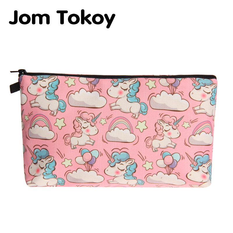 Jom Tokoy 2018 New fashion cosmetic organizer bag unicorn 3D Printing Cosmetic Bag Fashion Women Brand makeup bag jom tokoy 3d printing unicorn makeup bags multicolor pattern cute women cosmetic bag