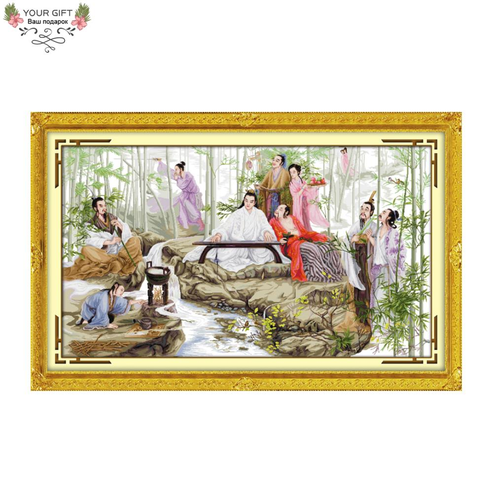 Joy Sunday Free Shipping Counted and Stamped Watching Bamboo Embroidery Chinese Cross Stitch kits for Home