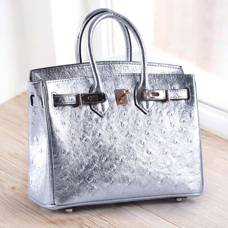 2018 Fashion High Quality European Real Leather Handbag Chain Bag Lizards Ostrich Lines  Mini 25CM Small Portable Oblique Design mini gray shaggy deer pvc quilted chain bag with cover real picture