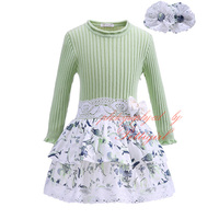 Pettigirl 2017New Autumn Girl Splicing Dress Green Long Sleeve Top Floral Lace Dress Children Casual Cloths Wear G-DMGD908-1036