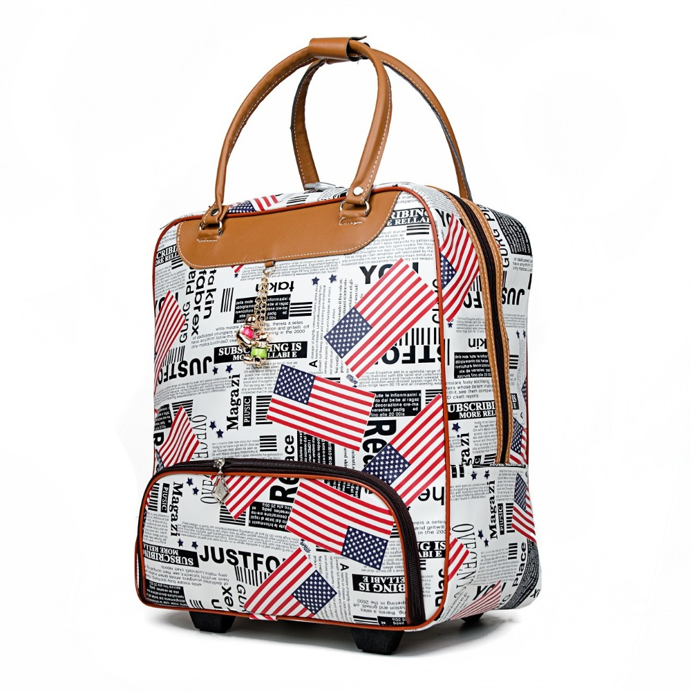 2018 New Trolley Bag Commercial Travel fashion Luggage Bags Carry-on PU Leather 20inch 36L-55L Rolling Duffle Bags Waterproof