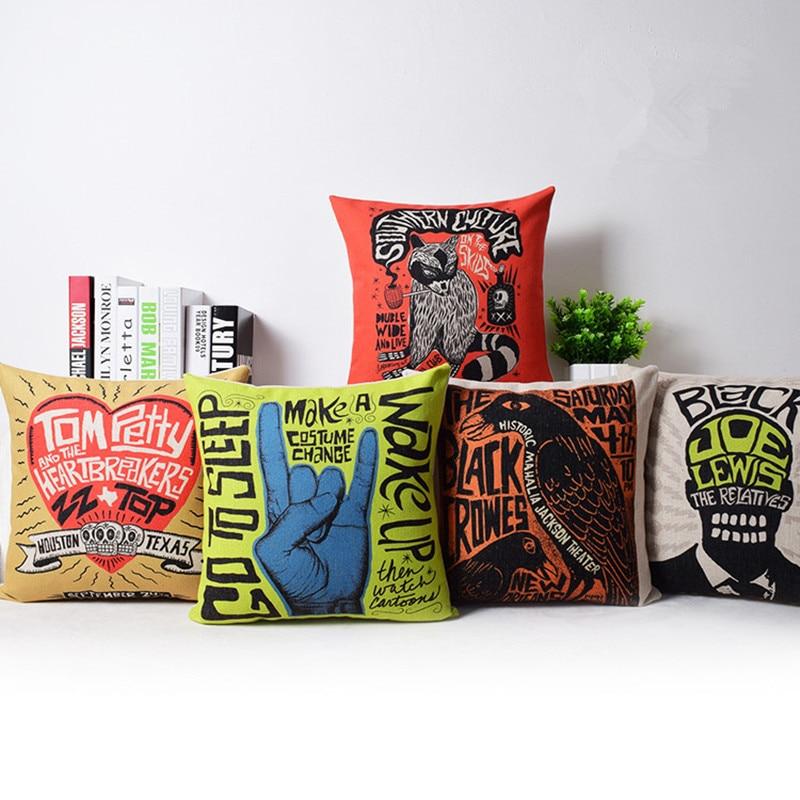 Cartoon Graffiti Printed Linen Cotton Cushion Cover Rock Pop Art Decorative Sofa Throw Pillow Car Chair Home Decor Pillow Case