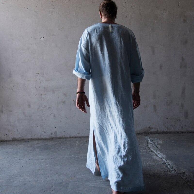 Men Full Length bathrobe Ultra Long Nature Cotton Linen Lounge Wear Home  Robe male Loungewear Sleepwear Kigurumi Pajamas gown-in Robes from  Underwear ... 325e427f7