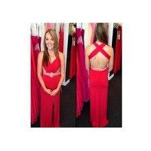 2016 heißer Verkauf Sexy Split Side V-ausschnitt Lange Abendkleid Mit Perlen Und Kristall Red Chiffon Abendkleider